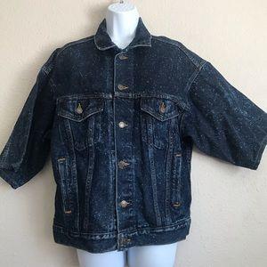 VTG Levis 3/4 Sleeve Speckled  90s Denim Jacket M